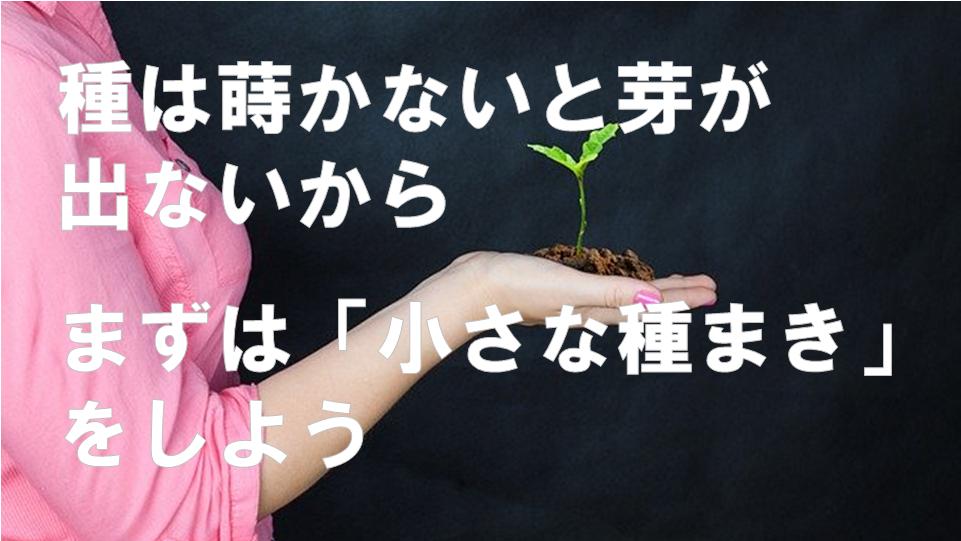 種は蒔かないと芽が出ないから、まずは小さな種まきをしよう